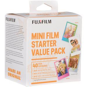 Fujifilm Instax Mini Starter Value Pack Instant Film - 40 Color Prints - 20 Instax Mini Film - 10 Shiny Star - 10 Rainbow