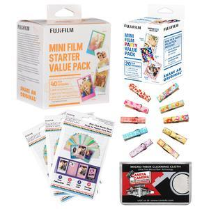 Fujifilm Instax Mini Starter Value Pack Instant Film-40 Color Prints-with Party Value Film Pack and Wood Peg Clips and Frame Stickers and Cleaning Cloth Kit