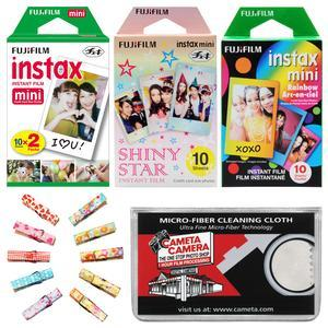 Fujifilm Instax Mini Starter Value Pack Instant Film - 40 Color Prints - with Wood Peg Clips + Cleaning Cloth Kit
