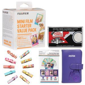 Fujifilm Instax Mini Starter Value Pack Instant Film - 40 Color Prints - with Mini Wallet + Wood Peg Clips + Frame Stickers + Cleaning Cloth Kit