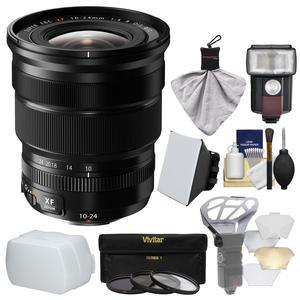 Fujifilm 10-24mm f-4.0 XF R OIS Zoom Lens with Flash and Soft Box and Flash Diffuser and Bounce Diffuser and 3 UV-CPL-ND8 Filters and Kit