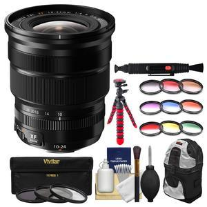 Fujifilm 10-24mm f-4.0 XF R OIS Zoom Lens with 3 UV-CPL-ND8 and 9 Colored Filters + Sling Backpack + Flex Tripod + Kit