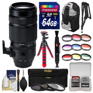 Fujifilm 100-400mm f-4.5-5.6 XF R LM OIS WR Zoom Lens with 3 UV-CPL-ND8 and 9 Colored Filters + 64GB Card + Sling Backpack + Flex Tripod + Kit