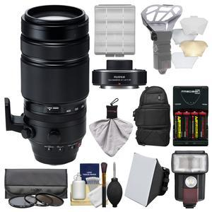 Fujifilm 100-400mm f-4.5-5.6 XF R LM OIS WR Zoom Lens with Fujinon XF 1.4x TC WR Teleconverter and Case and Flash and Batteries-Charger and Soft Box Kit