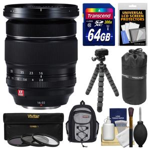 Fujifilm 16-55mm f-2.8 XF R LM WR Zoom Lens with 64GB Card + Backpack + Pouch + Tripod + 3 UV-CPL-ND8 Filters + Kit