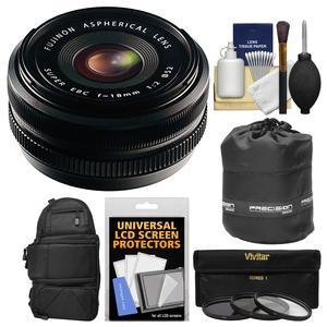 Fujifilm 18mm f-2.0 XF R Lens with 3 UV-CPL-ND8 Filters + Backpack + Pouch + Kit