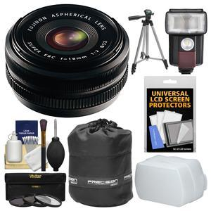Fujifilm 18mm f-2.0 XF R Lens with 3 UV-CPL-ND8 Filters + Flash + Diffuser + Pouch + Tripod + Kit