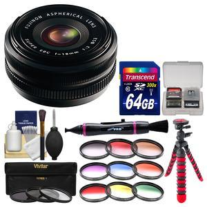 Fujifilm 18mm f-2.0 XF R Lens with 3 UV-CPL-ND8 and 9 Color Filters + 64GB Card + Flex Tripod + Kit