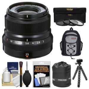 Fujifilm 23mm f-2.0 XF R WR Lens - Black - with 3 UV-CPL-ND8 Filters + Case + Flex Tripod + Pouch + Kit