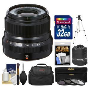 Fujifilm 23mm f-2.0 XF R WR Lens - Black - with 32GB Card + 3 UV-CPL-ND8 Filters + Case + Tripod + Pouch + Kit
