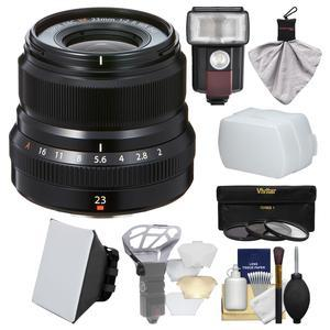 Fujifilm 23mm f-2.0 XF R WR Lens - Black - with 3 UV-CPL-ND8 Filters + Flash + Soft Box + Diffuser Bouncer + Kit