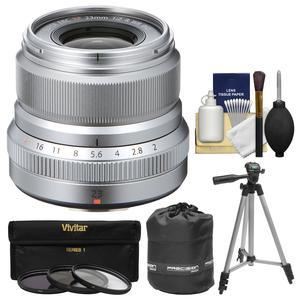 Fujifilm 23mm f-2.0 XF R WR Lens - Silver - with 3 UV-CPL-ND8 Filters + Tripod + Pouch + Kit