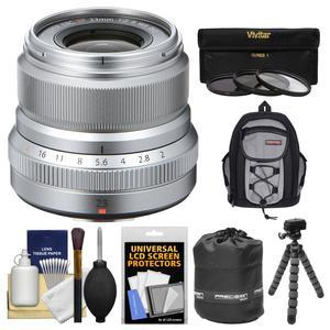 Fujifilm 23mm f-2.0 XF R WR Lens - Silver - with 3 UV-CPL-ND8 Filters + Case + Flex Tripod + Pouch + Kit