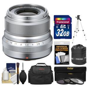 Fujifilm 23mm f-2.0 XF R WR Lens - Silver - with 32GB Card + 3 UV-CPL-ND8 Filters + Case + Tripod + Pouch + Kit