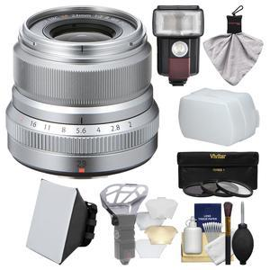 Fujifilm 23mm f-2.0 XF R WR Lens - Silver - with 3 UV-CPL-ND8 Filters + Flash + Soft Box + Diffuser Bouncer + Kit