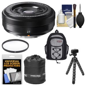 Fujifilm 27mm f-2.8 XF Lens with Backpack and Pouch and Flex Tripod and Filter and Kit