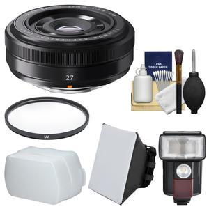 Fujifilm 27mm f-2.8 XF Lens with Flash and Diffusers and Filter and Kit