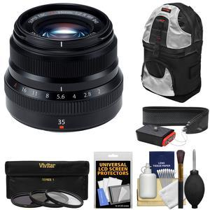 Fujifilm 35mm f-2.0 XF R WR Lens - Black - with 3 UV-CPL-ND8 Filters + Sling Backpack + Strap + Kit