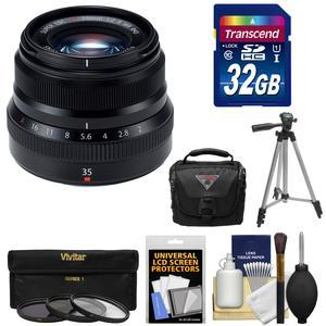 Fujifilm 35mm f-2.0 XF R WR Lens - Black - with 32GB Card + 3 UV-CPL-ND8 Filters + Tripod + Case + Kit