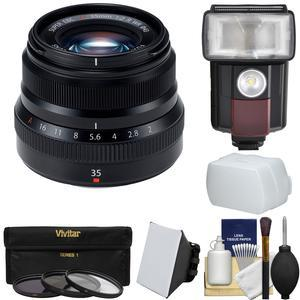 Fujifilm 35mm f-2.0 XF R WR Lens-Black-with Flash and 3 UV-CPL-ND8 Filters and Diffusers and Kit