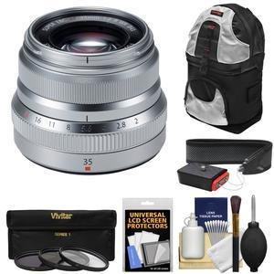 Fujifilm 35mm f-2.0 XF R WR Lens-Silver-with 3 UV-CPL-ND8 Filters and Sling Backpack and Strap and Kit
