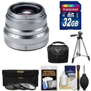 Fujifilm 35mm f-2.0 XF R WR Lens-Silver-with 32GB Card and 3 UV-CPL-ND8 Filters and Tripod and Case and Kit