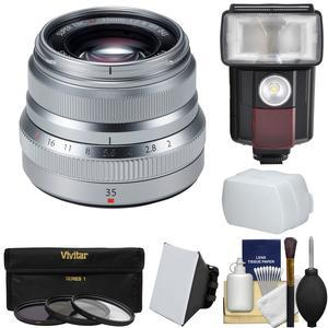 Fujifilm 35mm f-2.0 XF R WR Lens-Silver-with Flash and 3 UV-CPL-ND8 Filters and Diffusers and Kit