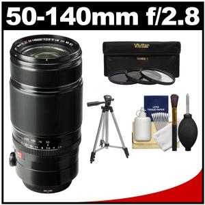 Fujifilm 50-140mm f-2.8 XF R LM OIS WR Zoom Lens with Tripod and 3 UV-CPL-ND8 Filters and Cleaning Kit