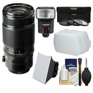 Fujifilm 50-140mm f-2.8 XF R LM OIS WR Zoom Lens with Flash and Soft Box and Diffuser and 3 UV-CPL-ND8 Filters and Kit