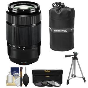 Fujifilm 50-230mm f-4.5-6.7 XC OIS II Zoom Lens-Black-with 3 UV-CPL-ND8 Filters and Lens Pouch and Tripod and Accessory Kit