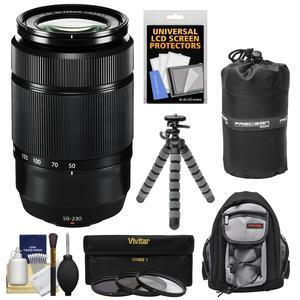 Fujifilm 50-230mm f-4.5-6.7 XC OIS II Zoom Lens-Black-with 3 UV-CPL-ND8 Filters and Backpack and Lens Pouch and Flex Tripod and Accessory Kit