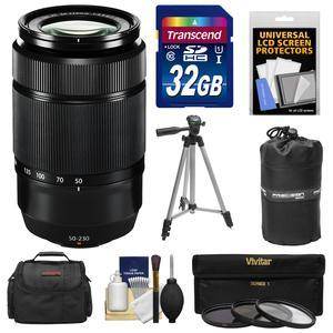 Fujifilm 50-230mm f-4.5-6.7 XC OIS II Zoom Lens-Black-with 32GB Card and 3 UV-CPL-ND8 Filters and Case and Lens Pouch and Tripod and Accessory Kit
