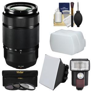 Fujifilm 50-230mm f-4.5-6.7 XC OIS II Zoom Lens-Black-with Flash and Soft Box and Bounce Diffuser and 3 UV-CPL-ND8 Filters and Kit
