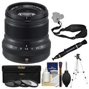 Fujifilm 50mm f-2.0 XF R WR Lens - Black - with 3 UV-CPL-ND8 Filters + Tripod + Sling Strap + Cleaning Kit