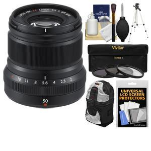 Fujifilm 50mm f-2.0 XF R WR Lens-Black-with 3 UV-CPL-ND8 Filters and Tripod and Backpack and Cleaning Kit