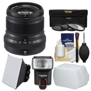 Fujifilm 50mm f-2.0 XF R WR Lens-Black-with 3 UV-CPL-ND8 Filters and Flash and Soft Box and Diffuser and Cleaning Kit