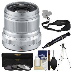 Fujifilm 50mm f-2.0 XF R WR Lens-Silver-with 3 UV-CPL-ND8 Filters and Tripod and Sling Strap and Cleaning Kit