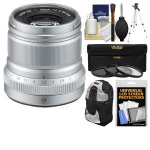 Fujifilm 50mm f-2.0 XF R WR Lens-Silver-with 3 UV-CPL-ND8 Filters and Tripod and Backpack and Cleaning Kit