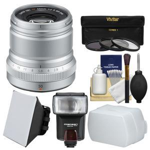 Fujifilm 50mm f-2.0 XF R WR Lens-Silver-with 3 UV-CPL-ND8 Filters and Flash and Soft Box and Diffuser and Cleaning Kit