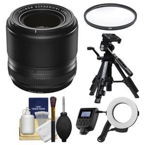 Fujifilm 60mm f-2.4 XF R Macro Lens with Macro Ring Light and Tripod and UV Filter and Kit