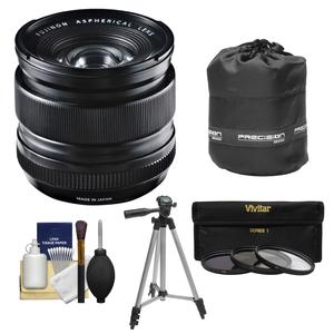Fujifilm 14mm f-2.8 XF R Lens with 3 UV-CPL-ND8 Filters and Lens Pouch and Tripod and Accessory Kit