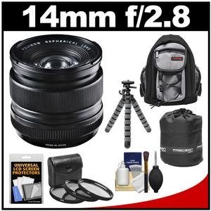 Fujifilm 14mm f/2.8 XF R Lens with 3 UV/CPL/ND8 Filters + Backpack + Lens Pouch + Tripod + Accessory Kit
