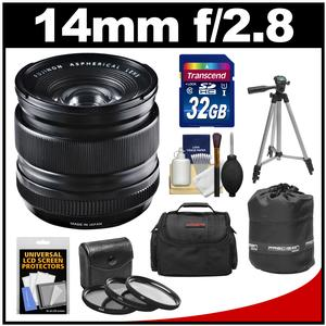 Fujifilm 14mm f/2.8 XF R Lens with 32GB Card + 3 UV/CPL/ND8 Filters + Case + Lens Pouch + Tripod + Accessory Kit
