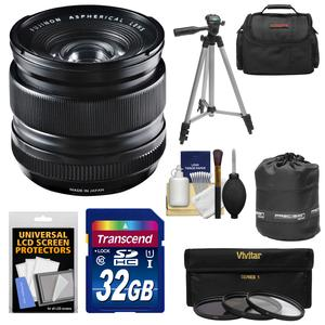 Fujifilm 14mm f-2.8 XF R Lens with 32GB Card and 3 UV-CPL-ND8 Filters and Case and Lens Pouch and Tripod and Accessory Kit