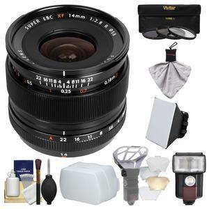 Fujifilm 14mm f-2.8 XF R Lens with Flash and Soft Box and Flash Diffuser and Bounce Diffuser and 3 UV-CPL-ND8 Filters and Kit