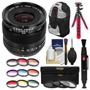 Fujifilm 14mm f-2.8 XF R Lens with 3 UV-CPL-ND8 and 9 Colored Filters and Backpack and Tripod and Kit