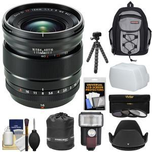 Fujifilm 16mm f-1.4 XF R WR Lens with Backpack and 3 Filters and Flash and Hood and Flex Tripod and Kit