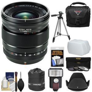 Fujifilm 16mm f-1.4 XF R WR Lens with Case + 3 Filters + Hood + Flash + Tripod + Kit