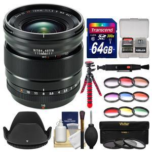 Fujifilm 16mm f-1.4 XF R WR Lens with 3 UV-CPL-ND8 and 9 Colored Filters + 64GB Card + Flex Tripod + Lens Hood + Kit