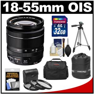 Fujifilm 18-55mm f/2.8-4.0 XF R LM OIS Zoom Lens with 32GB Card + 3 UV/CPL/ND8 Filters + Case + Lens Pouch + Tripod + Accessory Kit